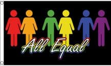 'All Equal' Rainbow of Relationships 5'x3' Flag