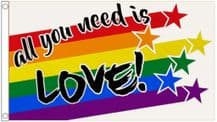 'All You Need Is Love' Rainbow  LGBTQ+ Gay Pride 5' x 3' (150cm x 90cm) Flag