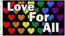 'Love For All' Rainbow LGBTQ+ Gay Pride Hearts 5' x 3' (150cm x 90cm) Flag