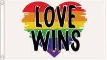 'Love Wins' Rainbow LGBTQ+ Gay Pride Heart 5' x 3' (150cm x 90cm) Flag