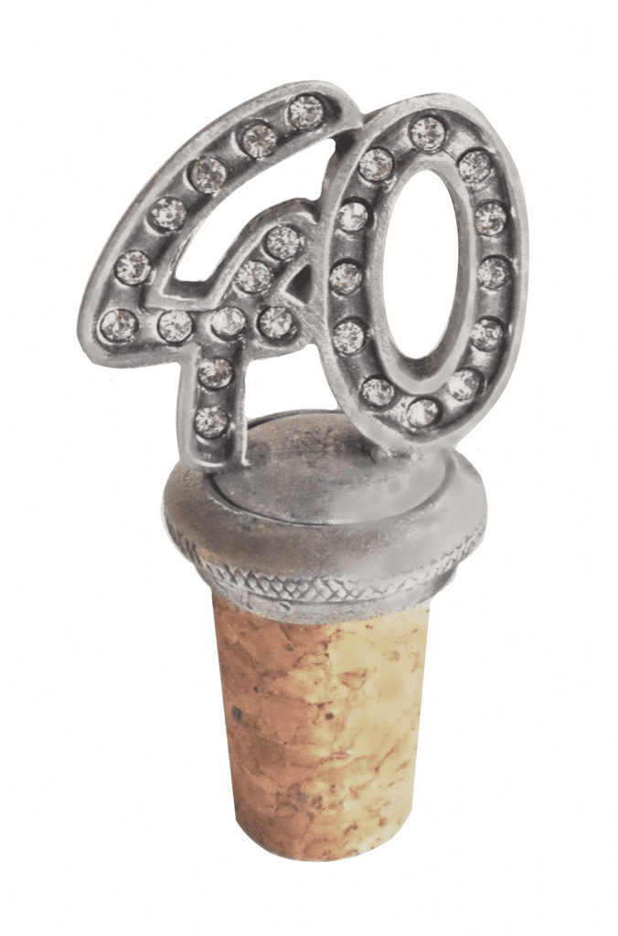 40th Birthday Anniversary or Celebration Wine or Spirits Pewter Bottle Stopper - BS40