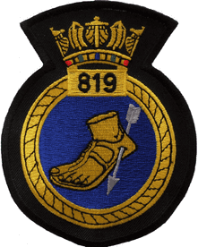 819 NAS Naval Air Squadron Royal Navy RN Fleet Air Arm FAA Crest MOD Embroidered Patch