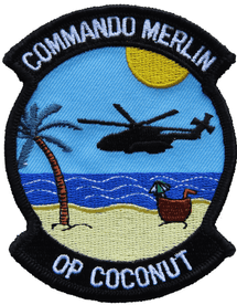 845 NAS Royal Navy FAA Operation Coconut Blue Commando Merlin Embroidered Patch
