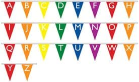 Alphabet Upper Case Superior Bunting 10m (32') Long With 26 Flags