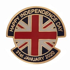 Brexit Happy Independence Day 31st January 2020 Pin Badge