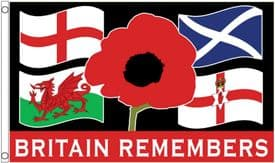 Britain Remembers Remembrance Day November 11th Poppy 5'x3' Flag