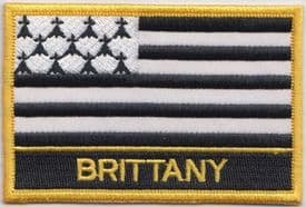 Brittany France Flag Embroidered Rectangular Patch Badge