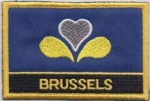 Brussels Belgium Flag Embroidered Rectangular Patch Badge