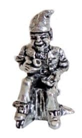 Cornish Pixie Piskey On A Tree Stump Pewter Ornament - Hand Made In Cornwall