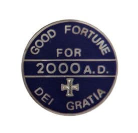 Dei Gratia 2000 AD By The Grace of God Good Fortune Pin Badge