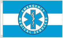 Emergency Medical Services Blue & White 5'x3' (150cm x 90cm) Flag