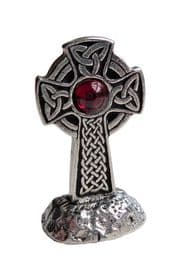 Endless Knot Celtic Cross Small Pewter & Red Jewel Ornament - Hand Made In Cornwall