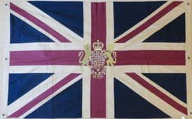 Hand Sewn Union Jack With Royal Crest Flag With 6 Eyelets (150cm x 100cm) *VINTAGE*.
