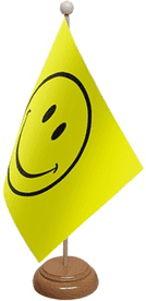 Happy Face Table Flag With Wooden Base