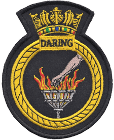 HMS Daring Royal Navy RN Surface Fleet Crest MOD Embroidered Patch