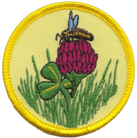 Honey Bee on Clover Embroidered Badge