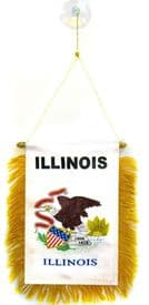 Illinois US State Hanging Car Flag Pennant