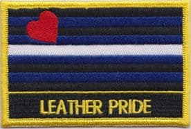 Leather Rainbow LGBTQ+ Gay Pride Embroidered Rectangular Patch
