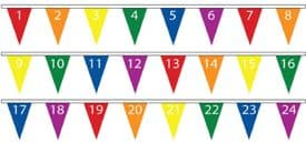 Numbers 1-24 Superior Bunting 10m (32') Long With 24 Flags