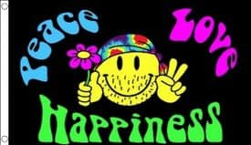 Peace Love and Happiness Happy Face Hippy 5'x3' (150cm x 90cm) Flag