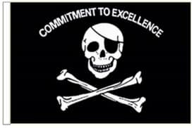 """Pirate Commitment To Excellence 18"""" x 12"""" (45cm x 30cm) Sleeved Boat Flag"""