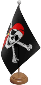 Pirate Skull & Crossbones Red Bandana Table Flag With Wooden Base