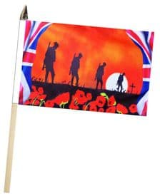 Poppy Flag - British Army Soldiers Large Hand Waving Flag