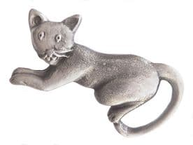 Pouncing Cat Pewter Brooch - BR1051