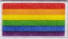 Rainbow LBGTQ+ Gay Pride Flag Embroidered Rectangular Patch (a469)