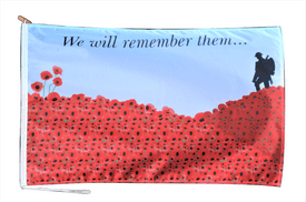 Remembrance Day Poppy We Will Remember Flag With Rope and Toggle - Various Sizes