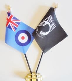 Royal Air Force RAF & Prisoner of War Missing in Action POWMIA Friendship Table Flag.