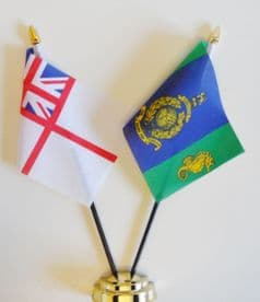 Royal Marines Commando Logistic Regiment CLR RMB Chivenor and Royal Navy White Ensign Friendship Table Flag