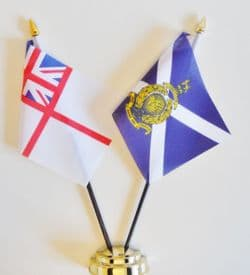 Royal Marines Reserve RMR Scotland and Royal Navy White Ensign Friendship Table Flag