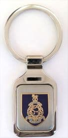 Royal Navy RN Corps of Royal Marines Crest Brushed Steel Key Fob - KM55