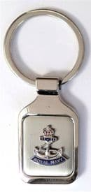 Royal Navy RN Smaller Crown and Anchor Brushed Steel Key Fob - KM87