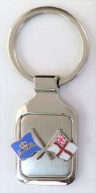 Royal Navy RN White Ensign & Leaping Dolphins Brushed Steel Key Fob - KM50