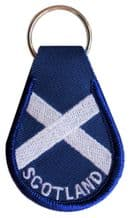 Scotland Saltire Embroidered Keyring - A237