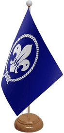 Scouts Blue Table Flag With Wooden Base