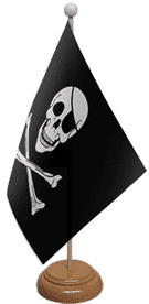 Skull and Crossbones Table Flag With Wooden Base
