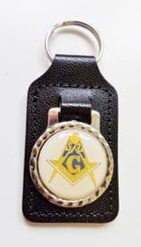 """Square & Compasses with """"G"""" Black Leather Masonic Key Fob - K068"""