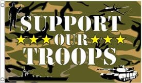 Support Our Troops Camouflage Pattern 5'x3' (150cm x 90cm) Flag