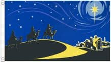 Three Wise Men at Bethlehem Christmas 5'x3' (150cm x 90cm) Flag