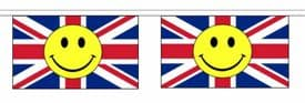 Union Jack Happy Face Horizontal Flag Bunting - Various Lengths