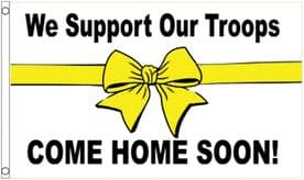 We Support Our Troops Come Home Soon White 5'x3' (150cm x 90cm) Flag