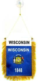 Wisconsin US State Hanging Car Flag Pennant