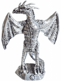 Wyvern With Wings Outstretched Pewter Ornament - Hand Made in Cornwall
