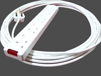 8m individually switched 4way socket extension lead