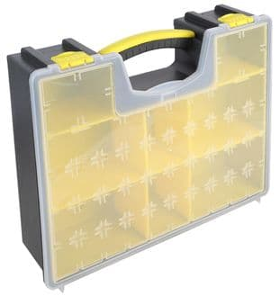 8 Compartment Grey / Yellow Organiser Case with Removable Tray 420mm x 334mm x 115m DURATOOL D00418