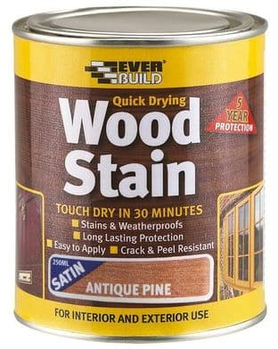 EVERBUILD WSTAINSPN02  Wood Stain Antique Pine 250Ml