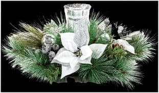 PREMIER DF168108W  60Cm White Poinsettia Candle Holder